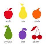 inställda fruktsymboler Plan design också vektor för coreldrawillustration Royaltyfri Foto