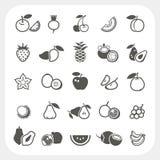 inställda glansiga symboler för frukt Arkivbilder