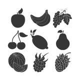inställda glansiga symboler för frukt stock illustrationer