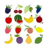 inställda glansiga symboler för frukt vektor illustrationer