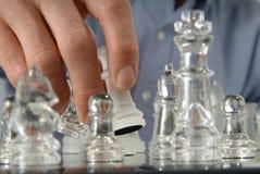 inställda glass stycken för schack Arkivfoton