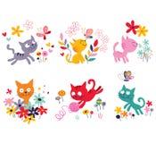 Inställda gulliga kattungar stock illustrationer