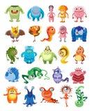 inställda gulliga monster stock illustrationer