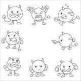 inställda gulliga monster monster uttryck royaltyfri illustrationer