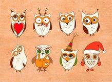 inställda gulliga owls Vektortecknad filmugglor och uggleungefåglar på vit bakgrund royaltyfri illustrationer