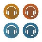 Inställda hörlurarsymboler Royaltyfri Bild
