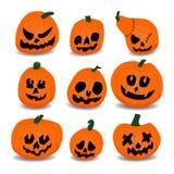 inställda halloween pumpor Stock Illustrationer