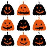 inställda halloween pumpor Vektor Illustrationer