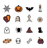 inställda halloween symboler stock illustrationer