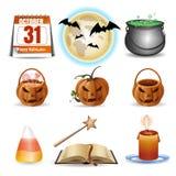 inställda halloween symboler Färgrika tecknad filmsymboler för vektor stock illustrationer