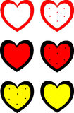 inställda hjärtor Grungestämpelsamling förälskelseformer för din design Arkivbild