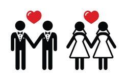 Inställda homoäktenskapsymboler stock illustrationer