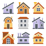 inställda hus Plan stildesign vektor Fotografering för Bildbyråer