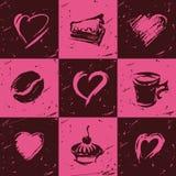 inställda kaffeelementhjärtor Royaltyfri Illustrationer