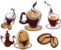 inställda kaffekoppar Royaltyfri Illustrationer