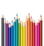 inställda kulöra blyertspennor Arkivbilder