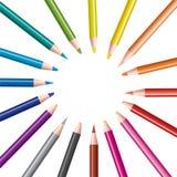inställda kulöra blyertspennor Arkivbild