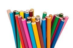 inställda kulöra blyertspennor Arkivfoto