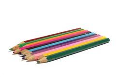 inställda kulöra blyertspennor Royaltyfria Bilder