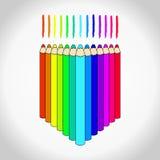 inställda kulöra blyertspennor vektor illustrationer