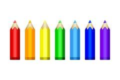 inställda kulöra blyertspennor Fotografering för Bildbyråer