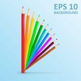 inställda kulöra blyertspennor också vektor för coreldrawillustration färgbegreppet pencils att skriva för utensils Arkivbilder