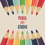 inställda kulöra blyertspennor Regnbåge royaltyfri illustrationer
