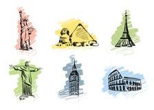 inställda landmarks vektor illustrationer