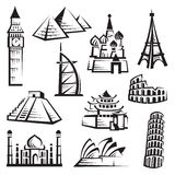 inställda landmarks stock illustrationer