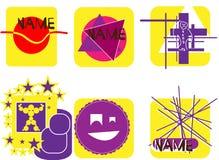 inställda logoer Samling av etiketter Royaltyfri Bild