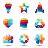 Inställda logomallar Modern vektorabstrakt begreppcirkel royaltyfri illustrationer