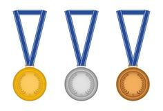 inställda medaljer stock illustrationer