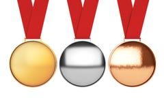 inställda medaljer bronze guldmedaljsilver framförande 3d Royaltyfria Foton
