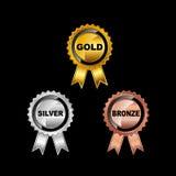 inställda medaljer Guldmedalj Silvermedalj Bronsmedalj Royaltyfri Foto