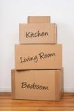 inställda moving packar för dag Arkivfoto