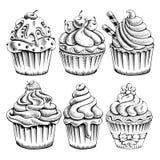 inställda muffiner vektor illustrationer