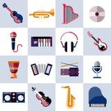 Inställda musikaliska instrument Arkivfoto