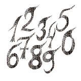 inställda nummer Grunge utformar Handskriven design Royaltyfria Bilder