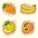 inställda nya frukter stock illustrationer