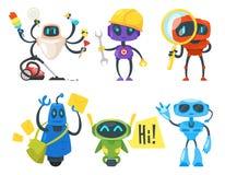 inställda olika robotar stock illustrationer