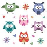 inställda owls Arkivfoto