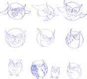 inställda owls stock illustrationer