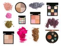 inställda paletter för rodnadfärgögonskuggor Royaltyfria Bilder