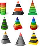 inställda pyramider Royaltyfri Foto