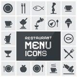 Inställda restaurangmenysymboler Royaltyfria Bilder