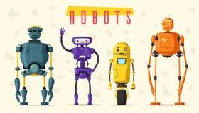 inställda robotar Teknologi framtid den främmande tecknad filmkatten flyr illustrationtakvektorn royaltyfri illustrationer