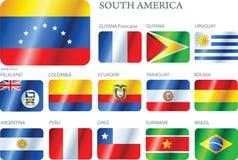 inställda söder för Amerika knappar flaggor Royaltyfri Fotografi