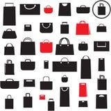 Inställda shoppingpåsesymboler Arkivfoton