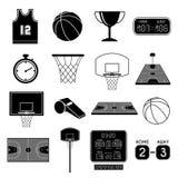 inställda silhouettes för basketsymbol spelare Arkivbilder