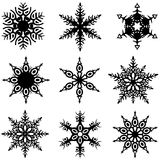 Inställda Snowflakes vektor illustrationer